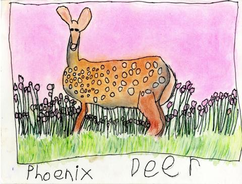 "2015 River of Words Finalist ""Deer"" Phoenix Snow-Silva, age 7. Boulder Creek, California. Watershed Art Studios (Santa Cruz) - Teacher: Linda Cover"