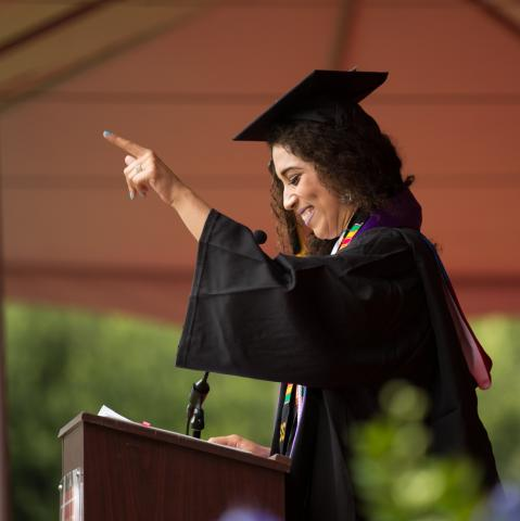 Savannah Mattox making a point during her valedictory address at the 2018 Undergraduate Commencement.