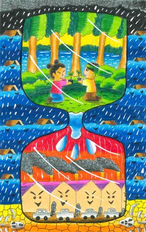 """Water and Tree gives Life"" Natkitta Chaipiriya Pitak, age 9. Bangkok. Thailand. Primary Demonstration School Suan. Teacher: Pichai Niyomtham. River of Words 2018 Finalist."