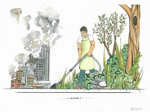 """Vacuum cleaning my Way to a Greener World"" Ailie Gieseler, age 16. Berlin. Germany. River of Words 2018 Finalist."