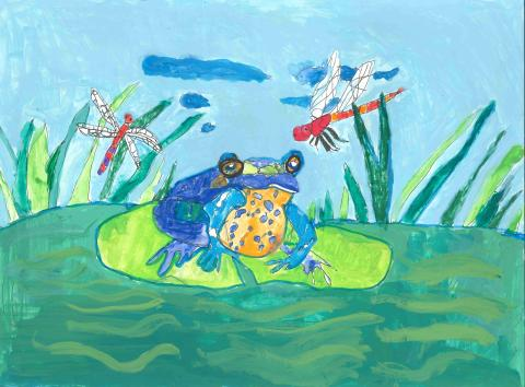 """Frog and Dragonfly"" Kevin Guo, age 10. Lilburn, Georgia. United States. Shijun Art Studio. Teacher: Shijun Munns. River of Words 2018 Finalist."