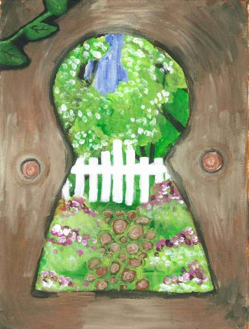 """Through the Keyhole"" Amelia Shields, age 11. Waterloo, Ontario. Canada. Vista Hills Public. Teacher: Paula Capa. River of Words 2018 Finalist."
