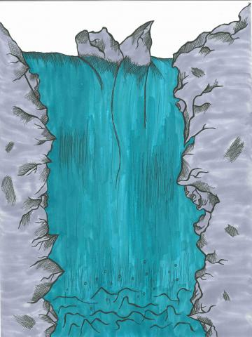 """Carried by a Waterfall"" Isabella T. Smalls, age 13. Covington, Georgia. United States. General Ray Davis Middle School. Teacher: Katy King. River of Words 2018 Finalist."