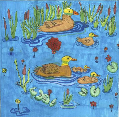 """A Paddling in a Pond"" by Jimmy Lin, age 7. Braselton, GA. United States. SKA Academy of Art and Design - Teacher: Leng K. Chang, San Teh, & Priscilla Lin. 2020 Art Finalist"