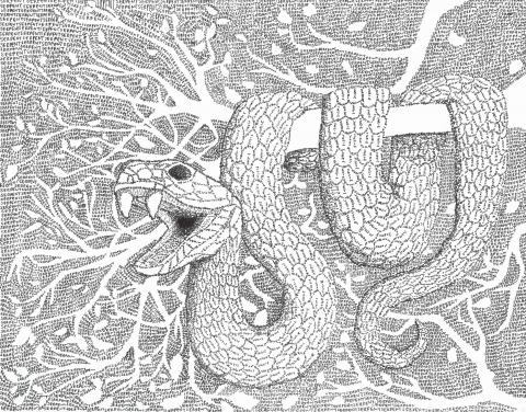 """The Fear of Snakes and Words"" by Jessica Thomas, age 18. Madison, AL. United States. Madison Academy - Teacher: Peggy Hickerson. 2020 Art Finalist"