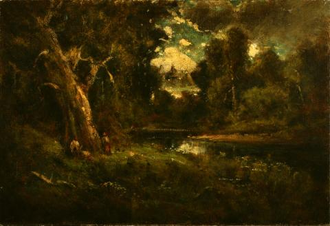 William Keith, Landscape with Two Figures Under Large Oak, circa 1907, Oil on canvas, 20 x 29 ½ inches, Collection of Saint Mary's College Museum of Art,  Gift of Robert Stragnell, M.D., 75.3.1