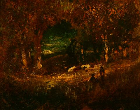 William Keith, A Romance, circa 1906-1911, Oil on paperboard, 11 x 14 inches, Collection of Saint Mary's College Museum of Art,  Gift of Mrs. Leland S. Lathrop, 84.13