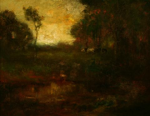 William Keith, Pastoral Landscape with Cows, 1906-1911, Oil on canvas, 14 x 18 inches, Collection of Saint Mary's College Museum of Art,  Gift of Joanne and Roland Elefant, 86.6