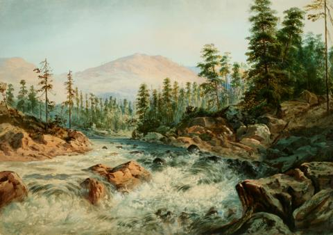 William Keith, Mountain Cascade Near Cisco, California, 1867, Watercolor, 16 x 24 inches, Collection of Saint Mary's College Museum of Art, College purchase, 88.1