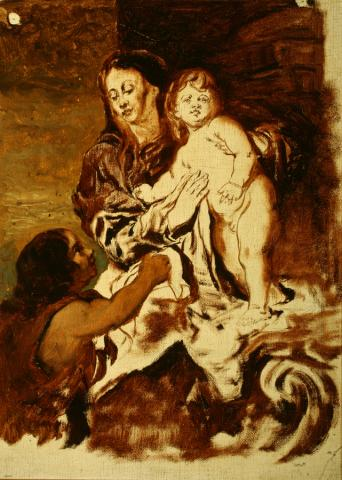 William Keith, Unfinished Sketch of Van Dyck's Madonna and Child with Little St. John, 1884-1885, Oil on canvas, 17 x 12 ½ inches, Collection of Saint Mary's College Museum of Art,  Gift of John Dowling Relfe, 93.15.2