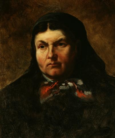 William Keith, Portrait of a Peasant Woman, 1884, Oil on canvas mounted on masonite, 20 x 17 inches, Collection of Saint Mary's College Museum of Art,  Gift of John Dowling Relfe, 93.15.3