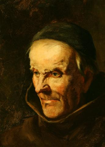 """William Keith, Study for """"Polemics"""" (Ideal head of Fr. Junipero Serra), 1884, Oil on canvas mounted on masonite, 18 x 13 ½ inches, Collection of Saint Mary's College Museum of Art, Gift of John Dowling Relfe, 93.15.5"""