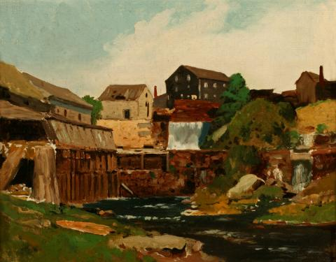 William Keith, Mill on a Stream, New England, 1880, Oil on canvas, 11 x 13 ½ inches, Collection of Saint Mary's College Museum of Art,  Gift of John Dowling Relfe, 93.15.8