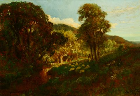 William Keith, California Pastoral Landscape, 1906-1911, Oil on panel, 14 ⅛ x 20 ⅛ inches, Collection of Saint Mary's College Museum of Art,  Gift of the Louis L. Stein and Mildred R. Stein Family, 97.13.1