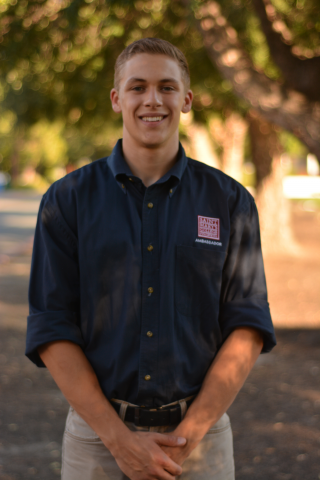 "Benjamin O'Lena '20 is from Grass Valley, California. Ben is majoring in Business Administration. Ben can also be found giving tours of our new Recreational Center and reffing intramural games. His favorite Seminar reading is ""The Odyssey"" by Homer."