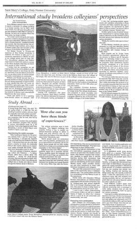 See Tracy Mumphrey (Sevilla, Fall 2009) Drew Williams (London, Fall 2009) and Amber Sandhu (Barcelona, Spring & Fall 2010) featured in The Catholic Voice!
