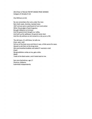 City Without an Ark, by Sara Jane Kachelman, 2013 River of Words Category IV Grand Prize Winner