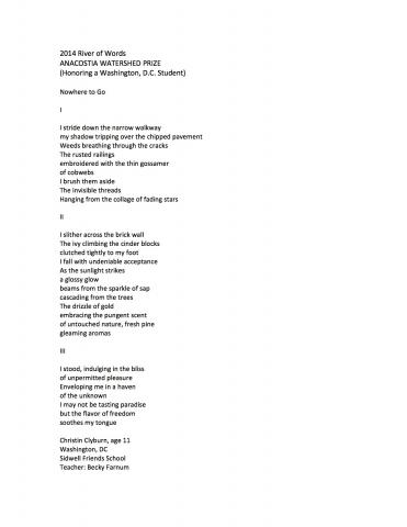"""""""Nowhere to Go"""" by Christin Clyburn, Anacostia Watershed Prize (c) 2014 River of Words"""