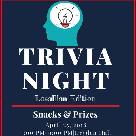 Trivia Night: Lasallian Edition poster - silhouette of a head and a light bulb