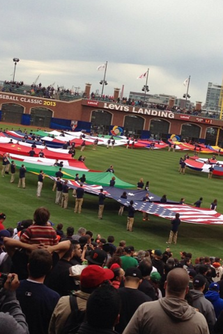 Daniel Almanza, carrying the United States' flag at the 2013 World Baseball Classic