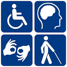 Square image showing person in wheelchair, a person's brain, sign language and person walking with a cane