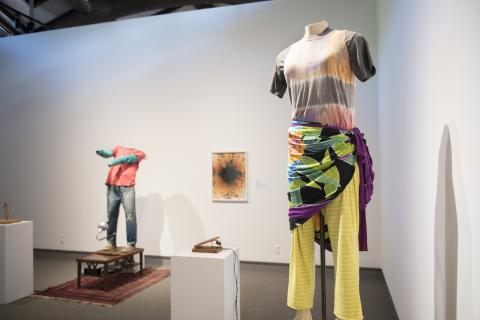 """Kal Spelletich's intention machines, """"Kay Miller"""" and """"Chris Johanson"""" named after individuals in Spelletich's life, greet the visitors in the first gallery. Photograph by Haley Nelson."""