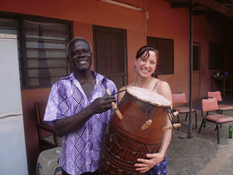 Ghana Man and Woman with a Djembe