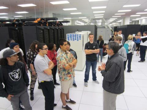 Touring the Oakland Scientific Facility downtown, where Lawrence Berkeley Laboratory operates its supercomputer center.