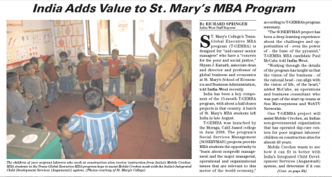 India West News Story about T-GEMBA in India