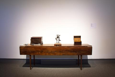 "Three of Spelletich's robots: ""Praying Hands Reliquary"" ""Intention Hand"" and ""Sublime Skyscape (in the Manner of Rothko)"" featured in the exhibition. Photograph by Patrick Maisano."