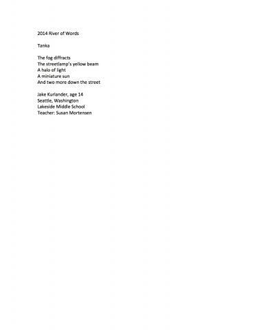 """Tanka"" by Jake Kurlander (c) 2014 River of Words"