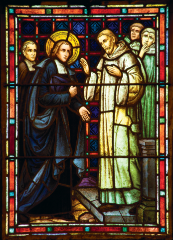 3. A Place of Retreat: De La Salle stands before a Carthusian monk, whose domain this is. Standing on a stone path, De La Salle, with a Brother, are shown to have traveled to this place, and De La Salle, having removed his hat, is showing respect for the Carthusian.  These two men of the Church from different communities face each other with a calm and sincere presence, their posture and gestures indicating familiarity and an understanding of hospitality between them. This monastery offers a place of retreat. De La Salle often sought time for reflection in such places, believing that God would guide his actions and provide what he needed to continue the work he was called to do.