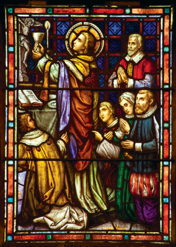 2. Unto the Altar of God: De La Salle lifts the chalice in the Eucharist prayer. De La Salle had celebrated his first Mass as a priest in 1678.