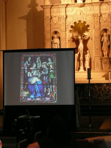 The stained glass windows in the Chapel took center stage in a presentation by Pamela Thomas of Mission & Ministry