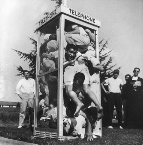 The iconic LIFE magazine photo of the 1959 phone booth stuffing.