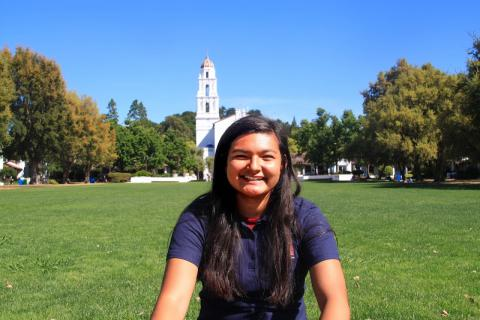 My name is Lydia Borrego and I am from Salinas.  I am an Integral Major and I'm so excited to interact with the new students and show them around Saint Mary's