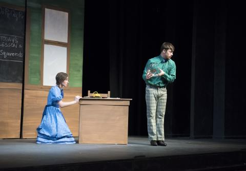 "Jan Term students perform on stage ""Miss Nelson is Missing"""