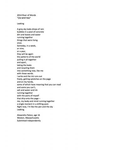 """Leaking"" by Alexandra Palocz (c) 2014 River of Words"