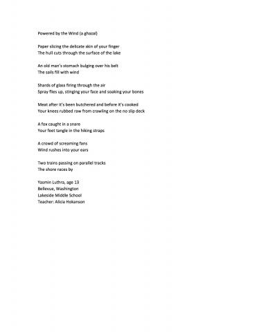 Powered by the Wind (a ghazal), by Yasmin Luthra