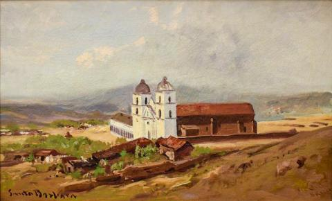 Santa Barbara Mission, William Keith, 1883, Oil on canvas, 15 1/4 x 25 3/8 inches, Collection of Saint Mary's College Museum of Art, 93.2