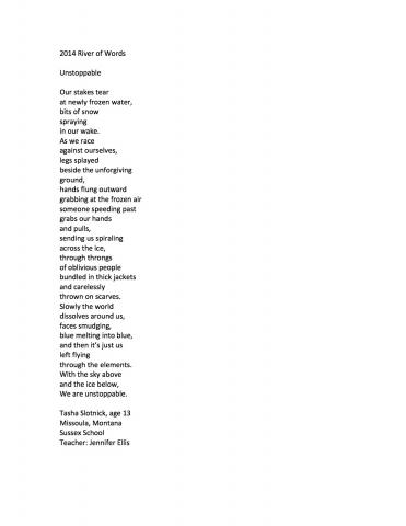 """Unstoppable"" by Tasha Slotnick (c) 2014 River of Words"