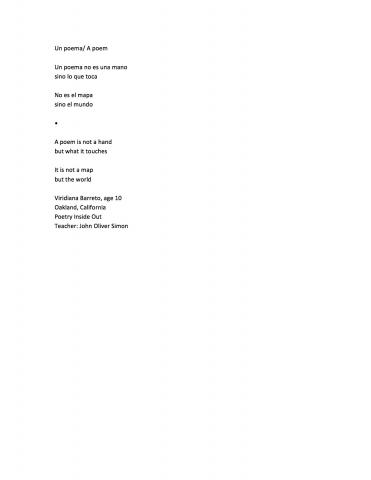 Un poema/ A poem (A poem is not a hand), by Viridiana Barreto