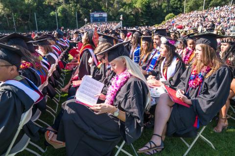 students sitting during the commencement ceremony
