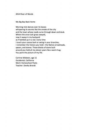 """My Big Bay Back Home"" by Corinne Webster (c) 2014 River of Words"