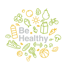 Circle that says Be healthy with pictures of fruit, running shoes, weights and water surrounding the words.