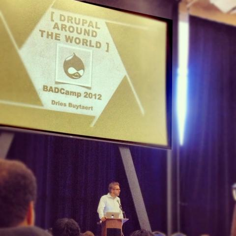 "Keynote speaker, Dries Buytaert, discusses ""Drupal Around The World""."