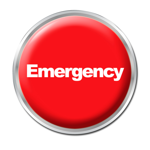 Red button that says Emergency in white letters
