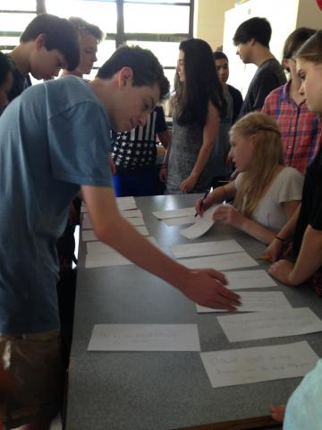 Students work in collaborative group ROW curriculum exercise