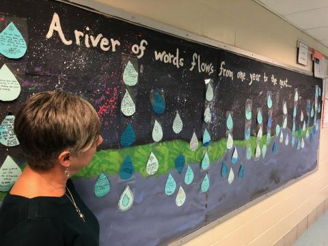 River of Words mural installation at JFK Middle School