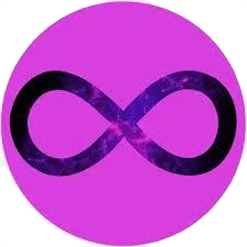 A black infinity symbol in a purple/pink colored circle